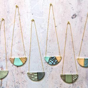 Bib Necklaces handmade by ceramicist Leanne Ball.