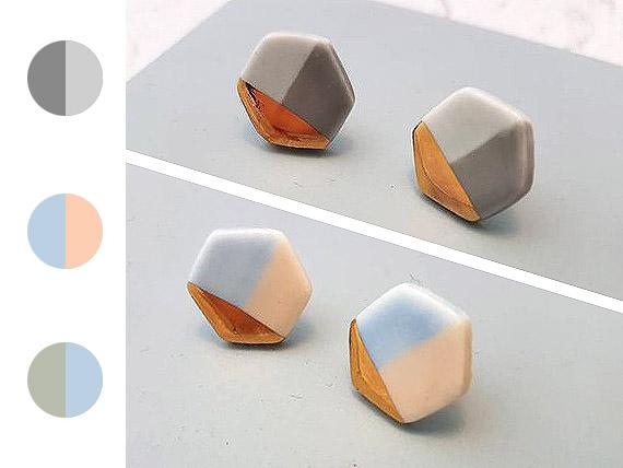 Hexagon Studs - Gold handmade by ceramicist Leanne Ball