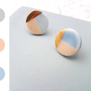Large Round Studs - Gold handmade by ceramicist Leanne Ball