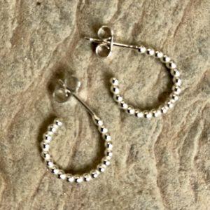 Dotty Hoop Earrings handmade in Devon by silversmith Claire Lowe