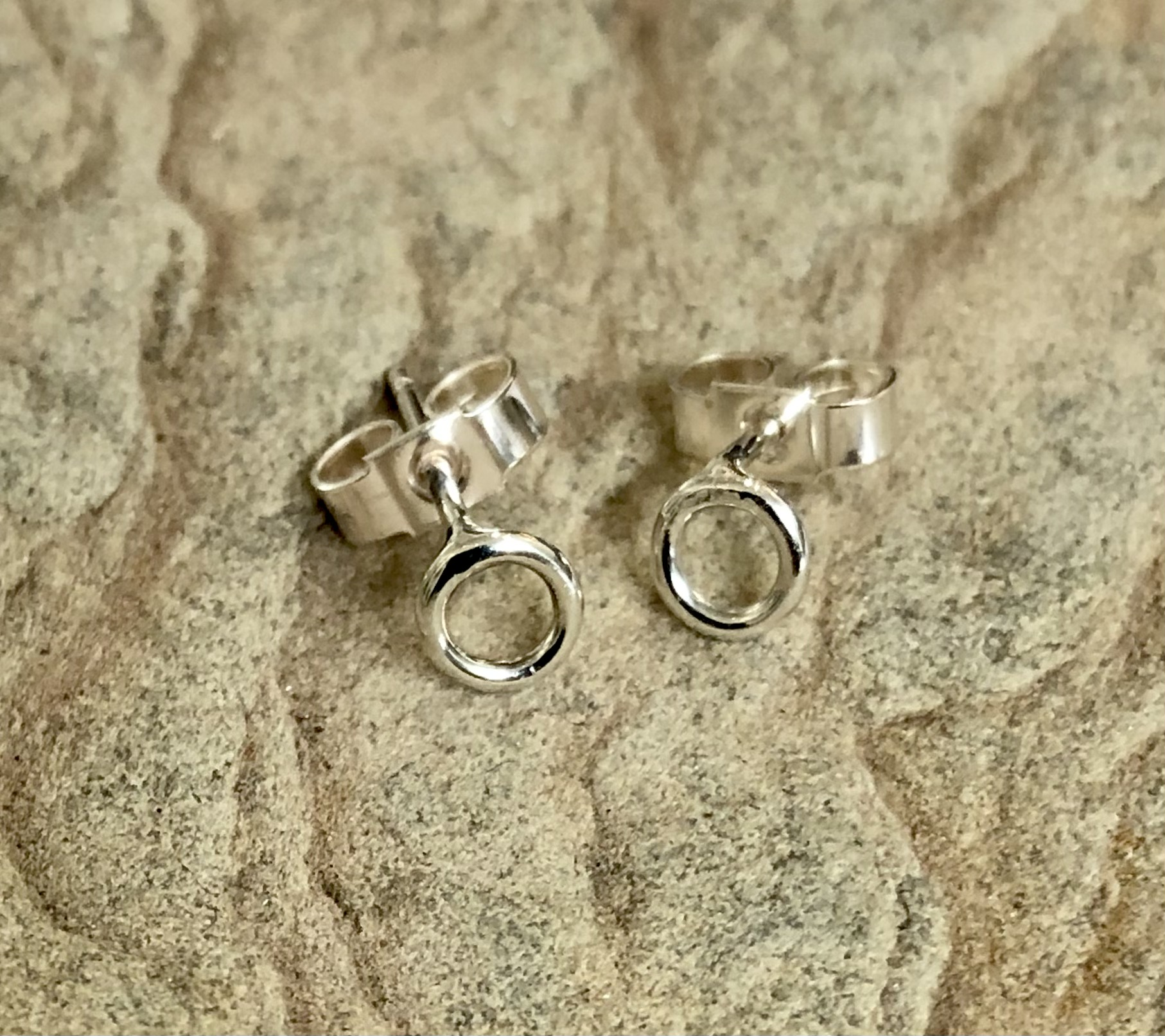 Silver small Circle Studs handmade in Devon by silversmith Claire Lowe