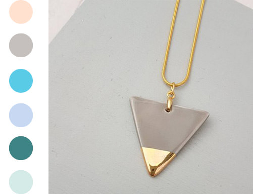 Triangle Pendant - Gold handmade by ceramicist Leanne Ball