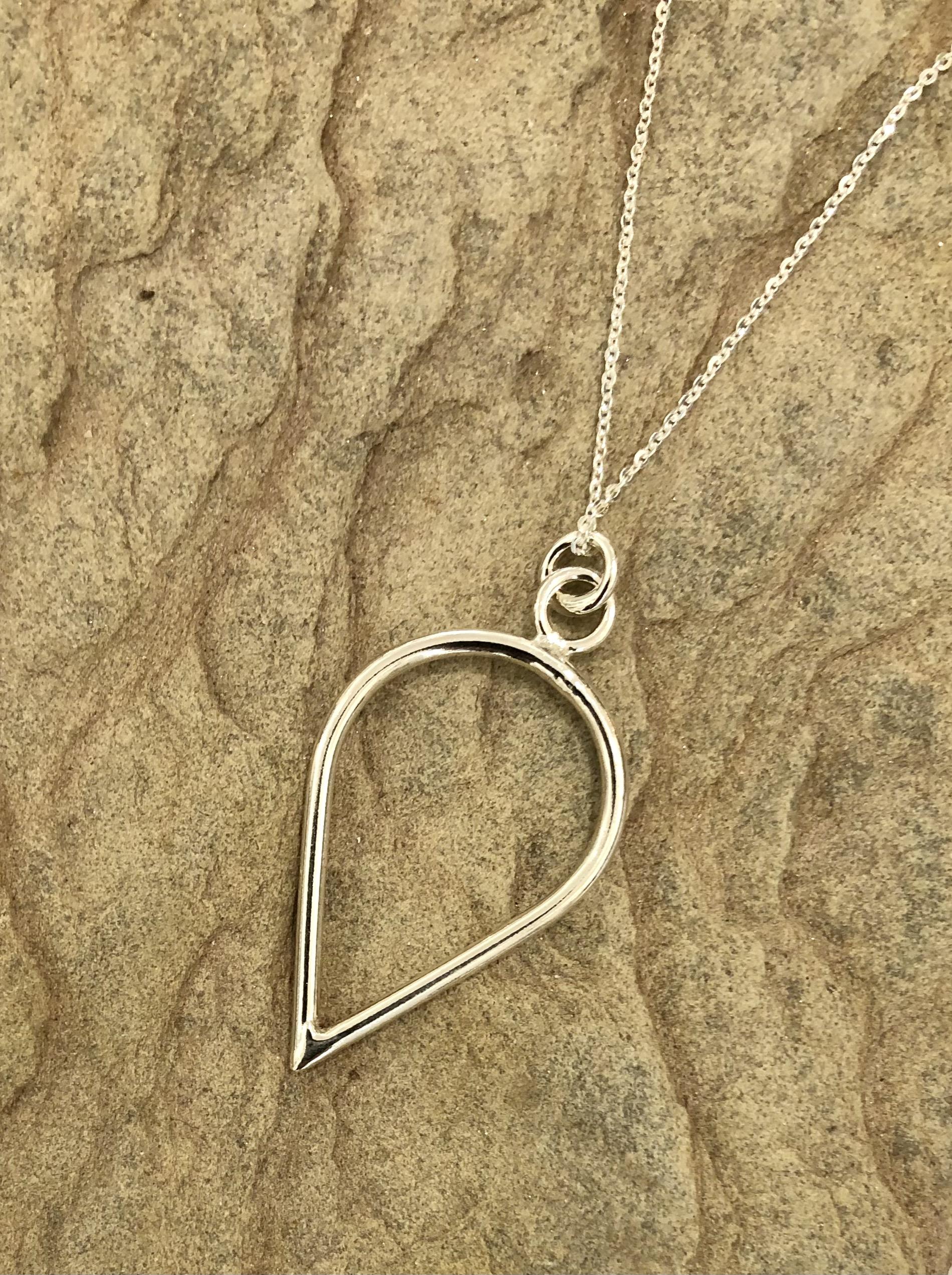 Sterling silver teardrop Pendant, by Devon based silversmith Claire Lowe.