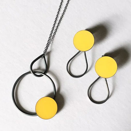 Silver Pendant and Studs, handmade in Devon by silversmith Claire Lowe.
