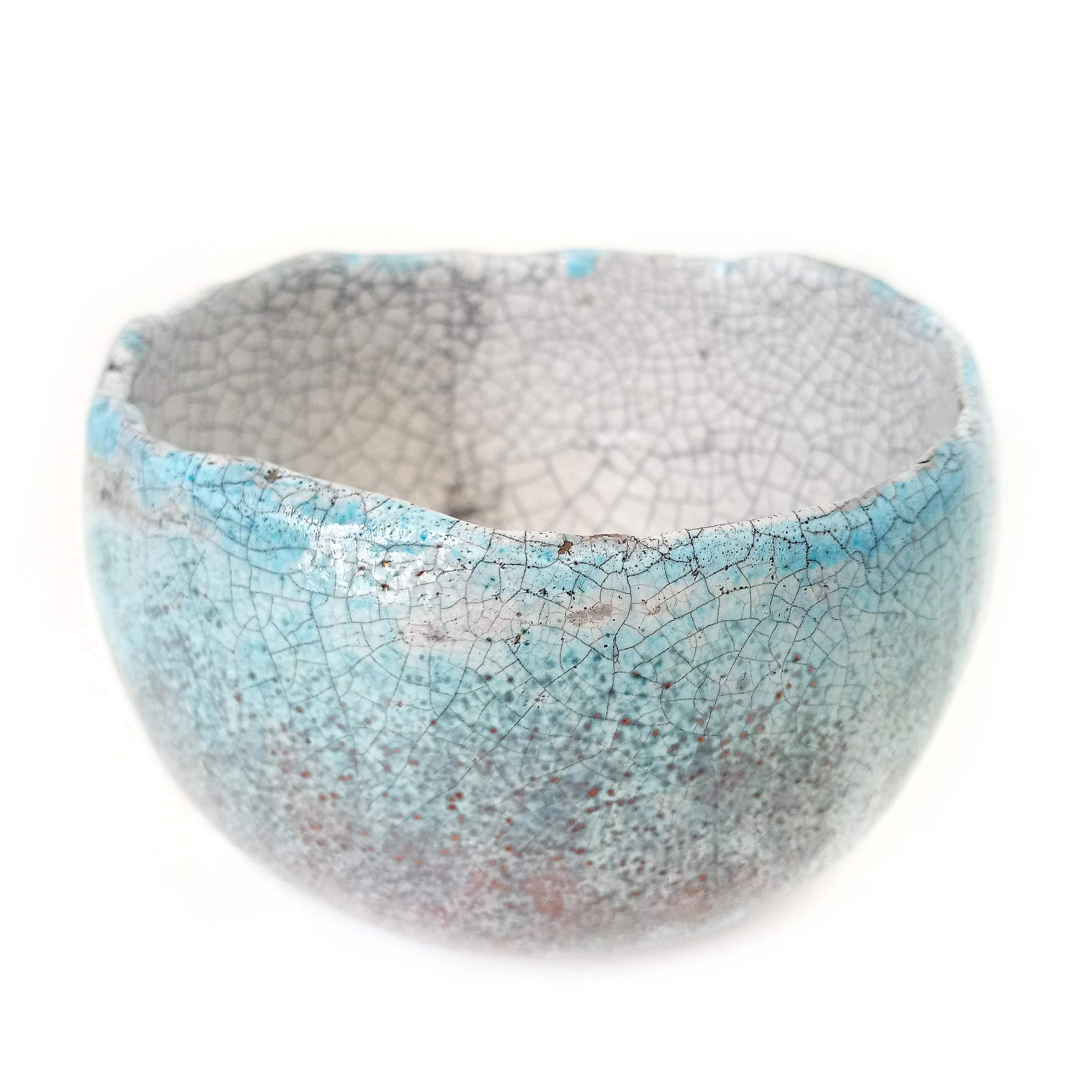 Aqua Raku Bowl, ceramics by Susan Luker
