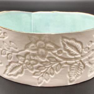Porcelain Oval Tealight Aqua by Leanne Ball