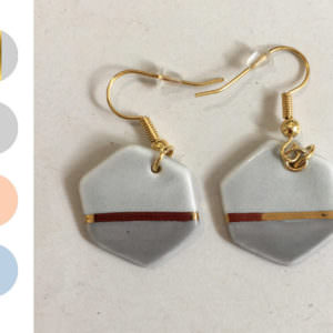 Hexagon Dangle Earrings - Mix handmade by ceramicist Leanne Ball