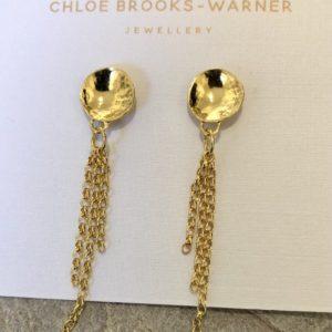 Gold Dome & Chain Studs handmade by devon jeweller Chloe Brooks-Warner