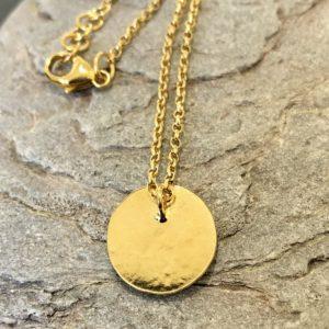 Gold Disk Necklace, handmade by devon jeweller Chloe Brooks-Warner