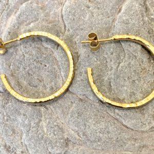 Gold Hammered Hoops handmade by Devon jeweller Chloe Brooks Warner
