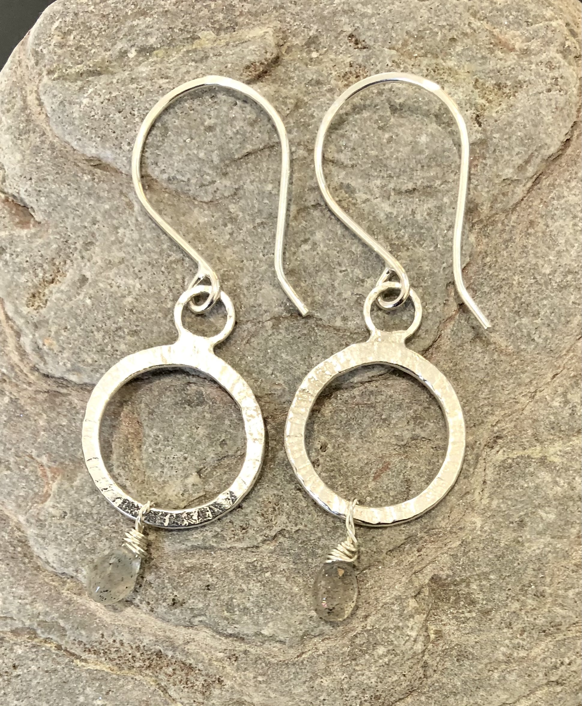 Silver Circle Earrings with Labradorite