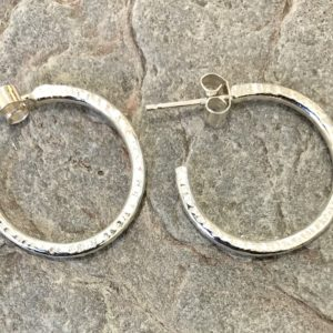 Silver Hammered Hoops by Devon jeweller Chloe Brooks-Warner