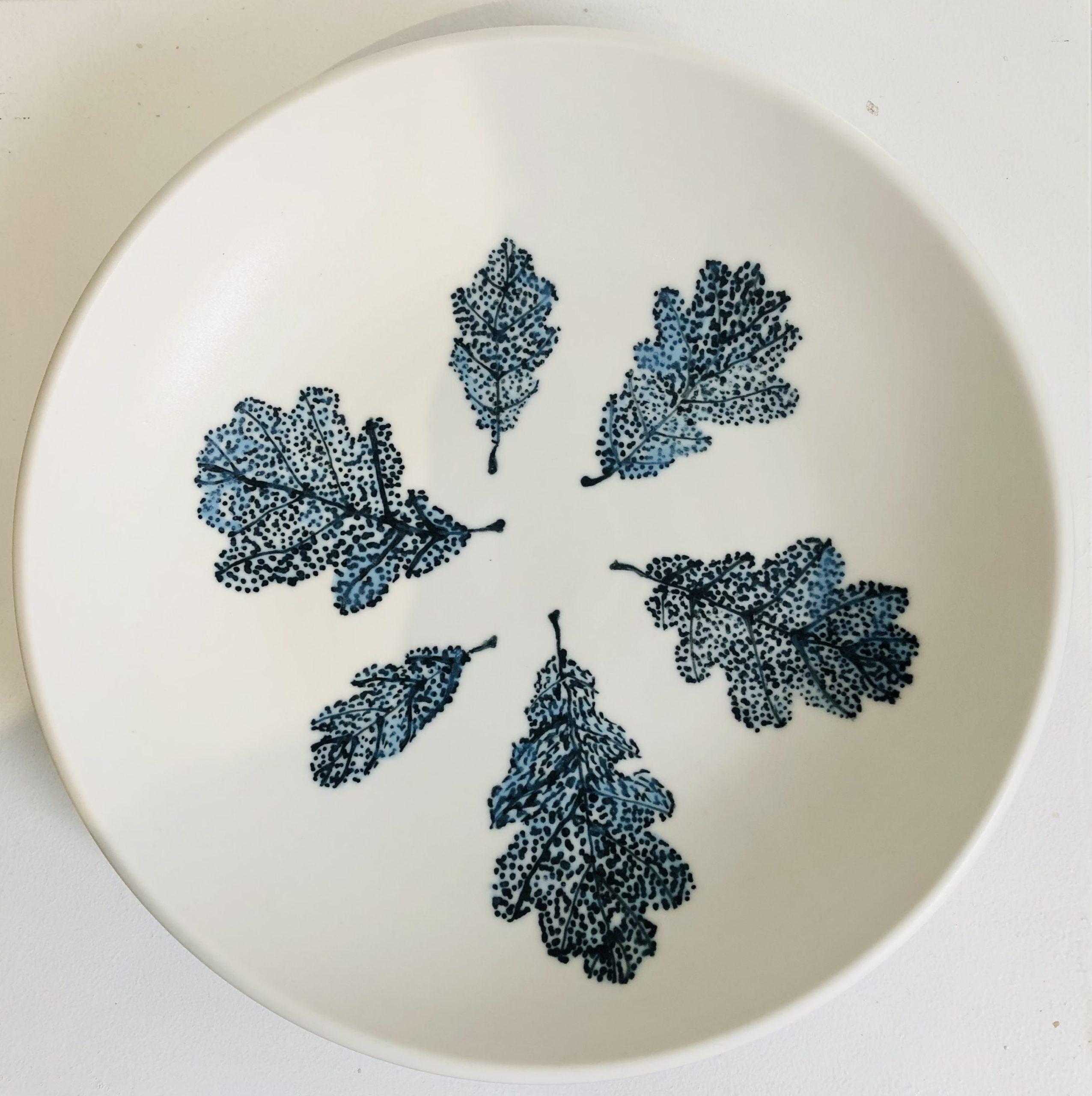 Large Porcelain Bowl with Blue Oak Leaves byPhilippa de Burlet