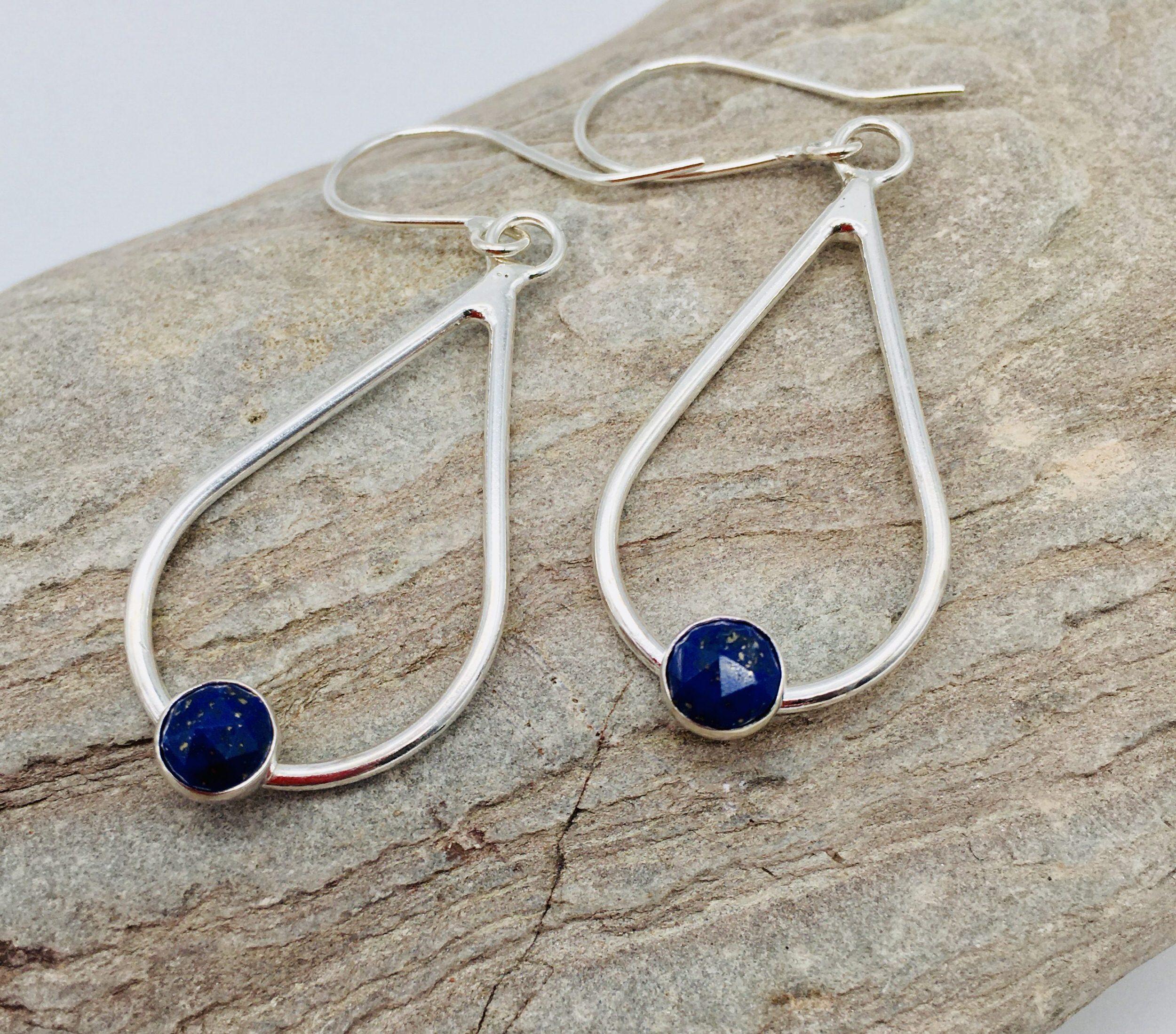 Drop Earrings in silver with Lapis Lazuli, handmade by devon jeweller Chloe Brooks-Warner