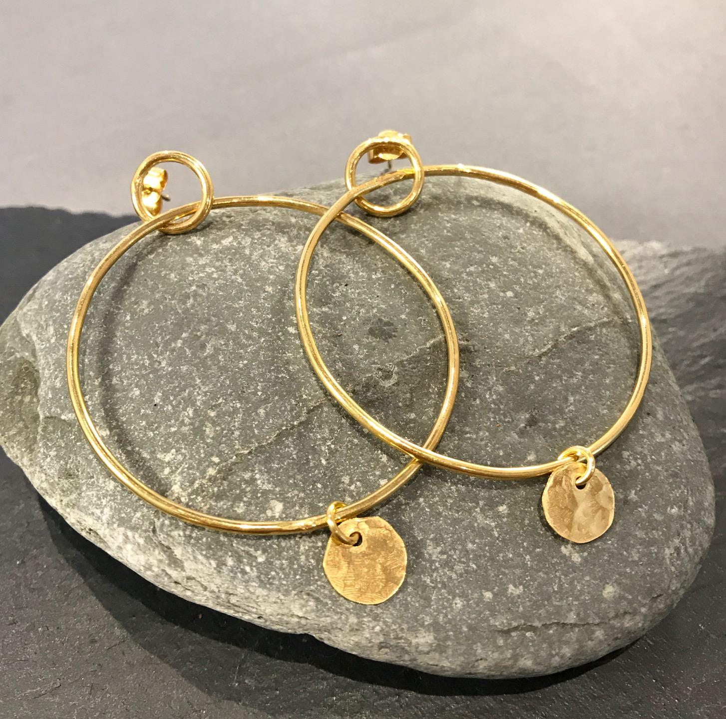 Meldon Hoops in Gold, handmade by devon jeweller Chloe Brooks-Warner