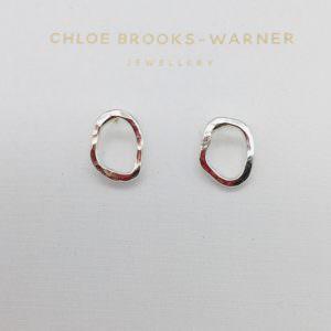 Mini crooked studs silver handmade by jeweller Chloe Brooks Warner