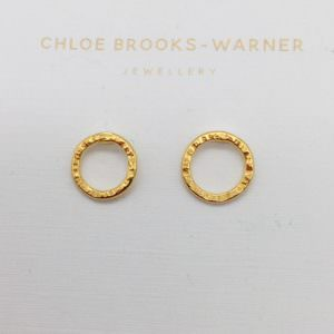 Mini Sun Studs Gold, handmade by devon jeweller Chloe Brooks-Warner