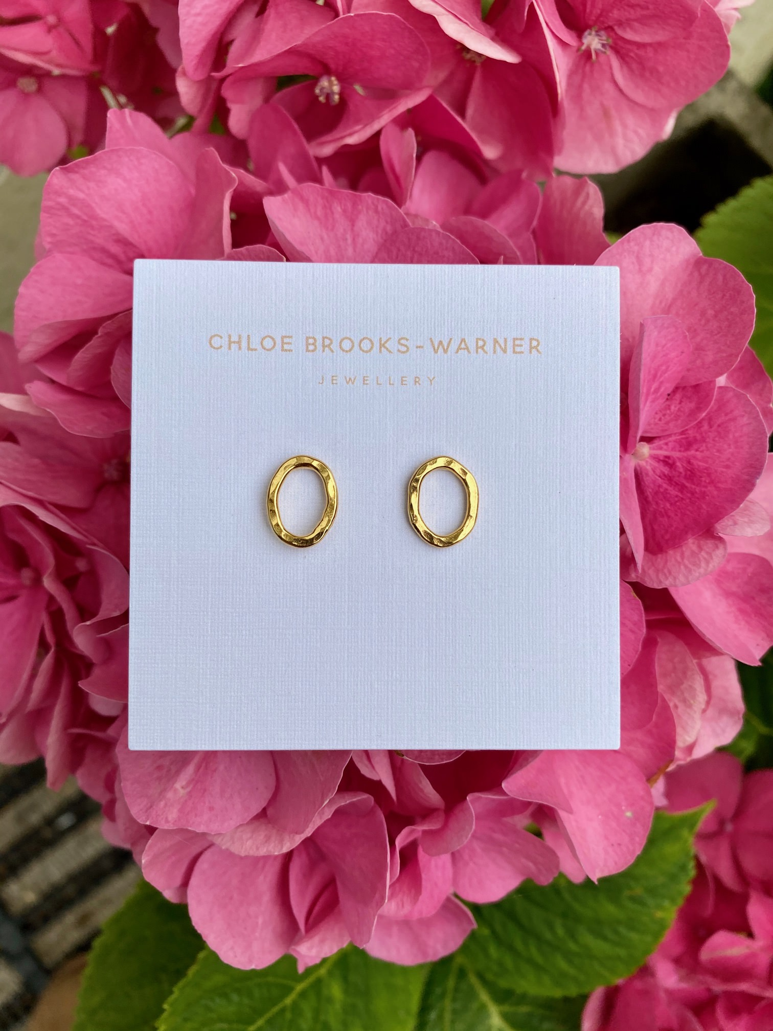 Mini crooked studs gold handmade by jeweller Chloe Brooks Warner