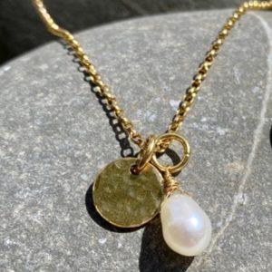 Pearl Drop Necklace Gold handmade by devon jeweller Chloe Brooks-Warner