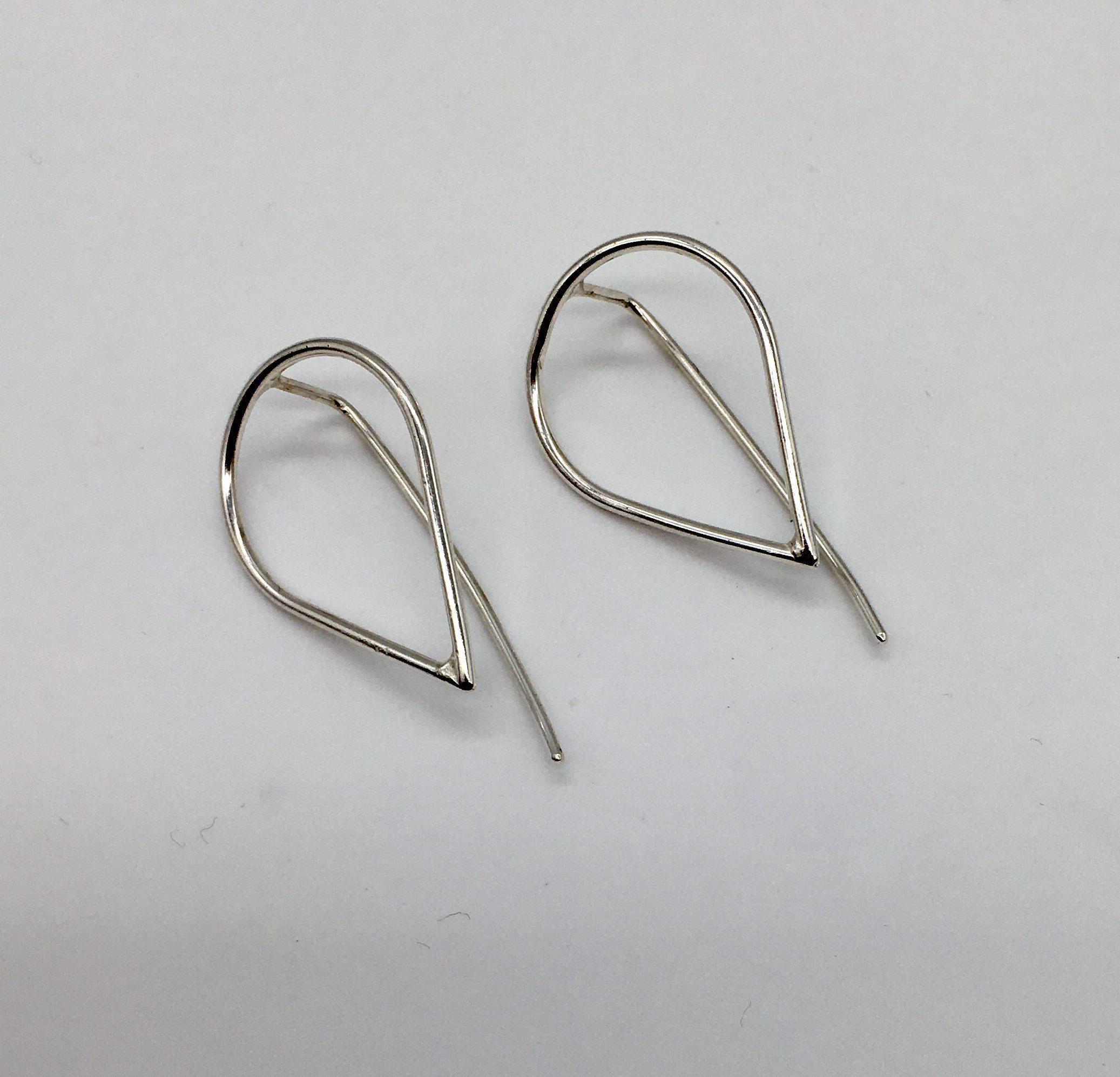 Silver teardrop threader earrings, handmade in Devon by silversmith Claire Lowe.