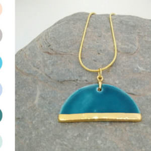 Dome Pendant - Gold handmade by ceramicist Leanne Ball
