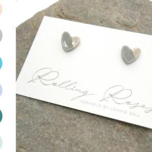 Heart Studs - Silver handmade by ceramicist Leanne Ball