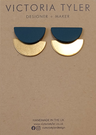 Half circle brass earrings by Victoria Tyler. Contemporary, art deco jewellery