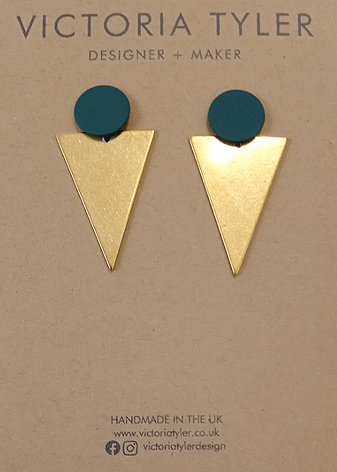 Triangle brass earrings by Victoria Tyler. Contemporary, art deco jewellery