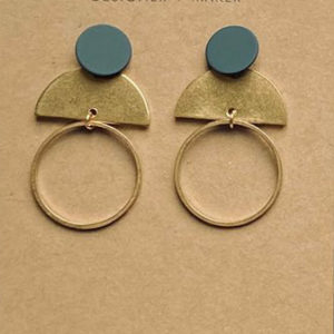 Deco round brass earrings by Victoria Tyler.