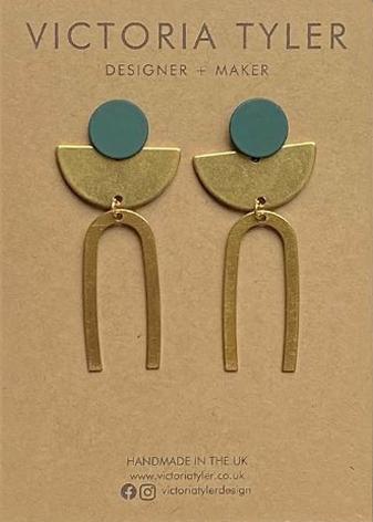 Deco brass earrings by Victoria Tyler. Contemporary, art deco jewellery