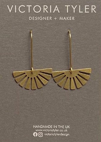 Sun brass earrings by Victoria Tyler. Contemporary, art deco jewellery