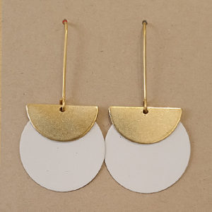Circle brass earrings by Victoria Tyler. Contemporary, art deco jewellery
