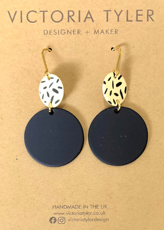 Black Circle and Dash Hoops by Victoria Tyler. Contemporary, art deco jewellery