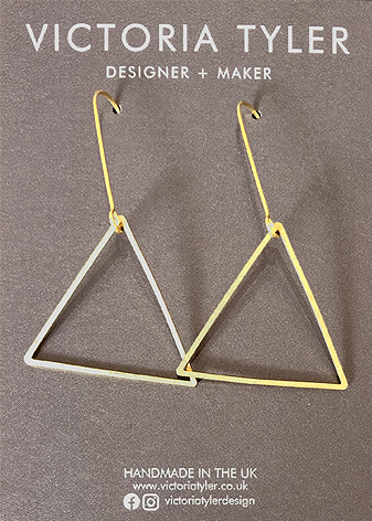 Triangle Hoops by Victoria Tyler. Contemporary, art deco jewellery
