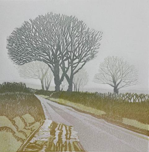 Trees in the Mist is an original lino print by artist Ann Burnham