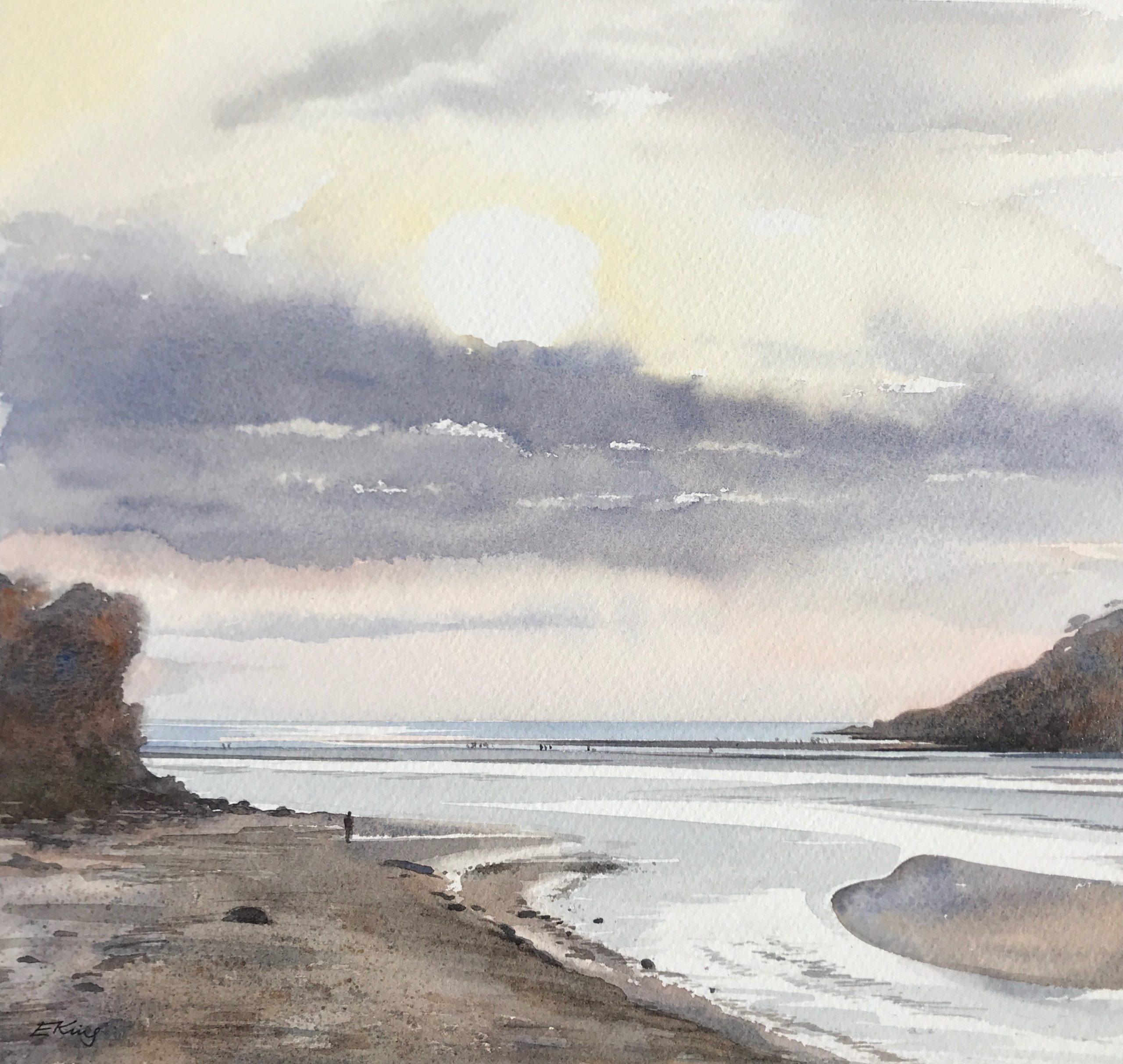Waiting for Sunset- Original Watercolour by Devon artist Eleanor King