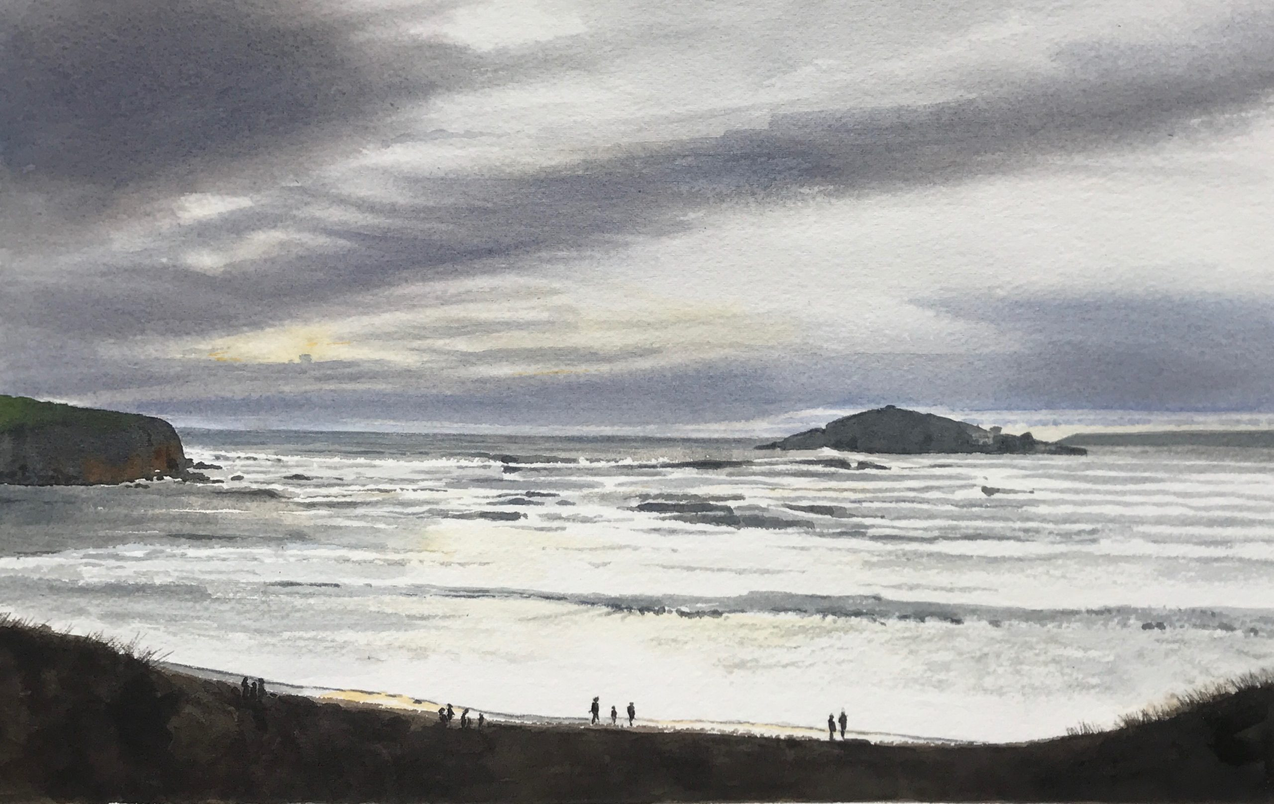 White Horses on the charge - Original Watercolour by Devon artist Eleanor King